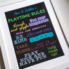 Playtime rules/ playroom rules Personalise for your home