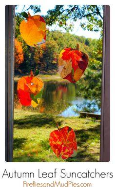 Autumn Leaf Suncatchers  #firefliesandmudpies