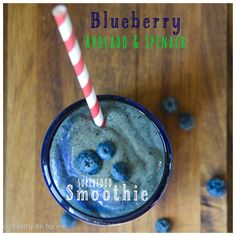 Blueberry Avocado and Spinach Superfood Smoothie *Use stevia instead of honey