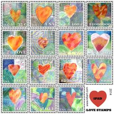 Students uses fine art, free Face on Stamp Booth app plus iPads to create individual 'Love Stamps'. stamp