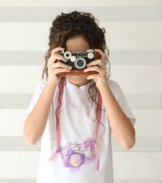 Picture perfect watercolor camera t-shirt :) @ILoveto Create #joannlove diy shirt, watercolor camera, diy gift, camera tee, fabric marker, t shirts, camera tshirt, gift idea, cameras