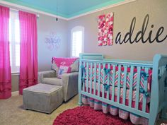 Pink, Aqua, and Gray Chevron Nursery