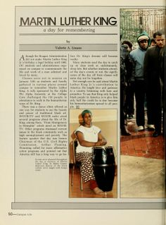 """Athena yearbook, 1985. """"Events were planned throughout the day in memory of Martin Luther King. In Baker Center Ballroom, dances of the black culture were taught with bongo music."""" :: Ohio University"""