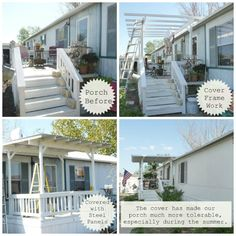 Mobile Home front porch - before/after from my-heart's-song.com #porch