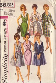 1960s Vintage Simplicity Dress Sewing Pattern-Bust 34. $5.00, via Etsy.