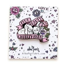 True Beauty is Cruelty-Free - HARD ENAMEL PIN - Bunnies, rabbits love