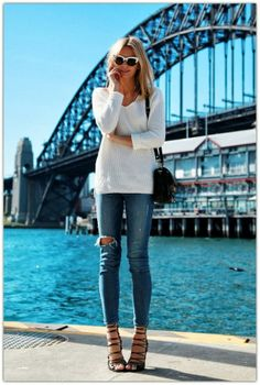 simple and chic // distressed denim, ivory sweater, and strappy sandals