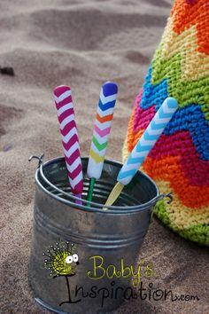 Chevron Polymer clay crochet handled hooks