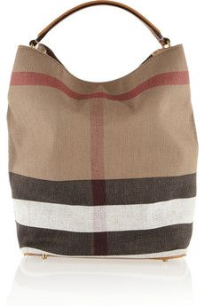 Burberry Shoes & Accessories Checked canvas hobo bag | NET-A-PORTER