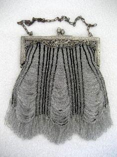 Vintage Knit Beaded Crystal Purse Antique Purses