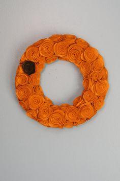 Handmade Pumpkin Felt Rosette Wreath. Felt by EmbellishedLiving