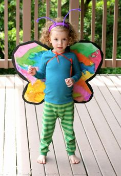 Make Your Own Cardboard Butterfly Wings | FUN AT HOME WITH KIDS butterfli wing, at home, craft, raising kids, halloween costume ideas, butterflies, cardboard butterfli, butterfly wings, halloween ideas