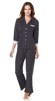Feel luxurious drifting off to sleep wearing @RhondaShear's button-front top and pant set! Which playful polka dot print are you leaning towards: black or pink?