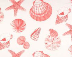 Premier Prints CORAL & WHITE SHELLS Fabric 1 Full Yard