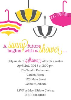 Umbrella Wedding Shower Invitation - Sample. $1.80, via Etsy.