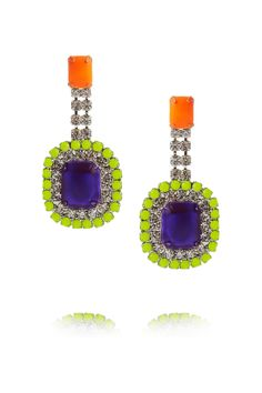 All my favorite colors...Tom Binns | Pinata painted Swarovski crystal earrings | NET-A-PORTER.COM