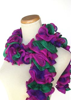 Hand Knit Ruffled Scarf  Hot Pink Purple Green by ArlenesBoutique, $33.00