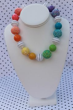 Rainbow Chunky Necklace for Little Girls  by SassySamsTreasures, $17.50