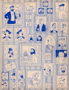 Tintin inner book cover  Oh isn't this great! You can't beat a good end paper!