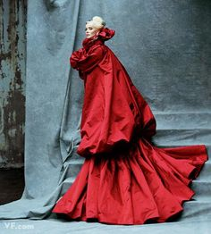 Alexander Mcqueen cape worn by Daphne Guinness in Vanity Fair.