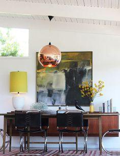 LOVE this color combo!  Tom Dixon Copper Pendant