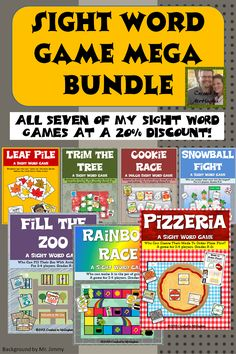 Finally- All SEVEN of my Sight Word Games in One Download! This is a total score. Not only do you get SEVEN classroom tested and engaging games, you get them at a 20% discount! ($)
