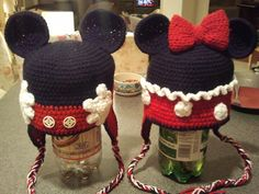 Crocheted Mickey and Minnie Hats.love the idea of hands