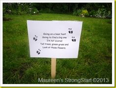 """Check out this post for a GREAT idea to have kids act out the """"Going On a Bear Hunt"""" chant with props.  TOO CUTE!"""