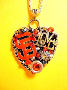 San Francisco Giants Heart Pendant by BradosBling on Etsy, $39.99