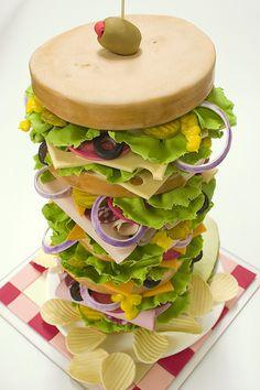 dagwood sandwich, sandwiches, food, creativ cake, cake party, incredible cakes, party cakes, parti, sandwich cake