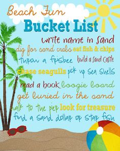 Beach Fun Bucket List cute for kids room/laundry room or place that color fits