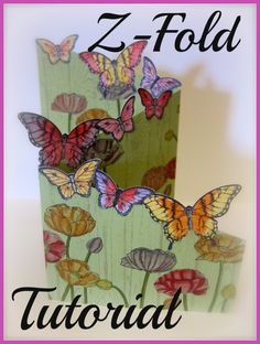 Z-Fold Card, Stampin Up, Papillion Potpourri, Butterfly Punch, Hardwood, Pleasant Poppies, Handmade greeting card