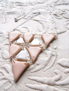Geometric Triangle polymer clay necklace by WendyWhiteCo on Etsy, $15.00