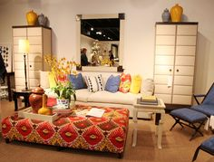 Love xtra large ottoman coffee tables..can't go wrong with something you can sit on too! Trend colors for Spring 2012...yellow & orange! XO