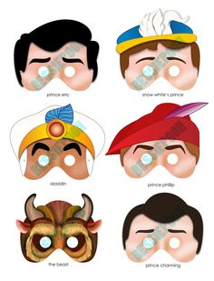 DISNEY PRINCESS PARTY Printable Mask Collection. Includes all 6 prince masks. Photo booth prop. Prince Charming, Aladdin, The Beast. $10.00, via Etsy.