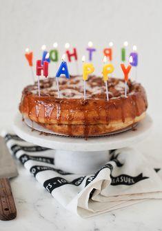 cinnamon roll birthday cake