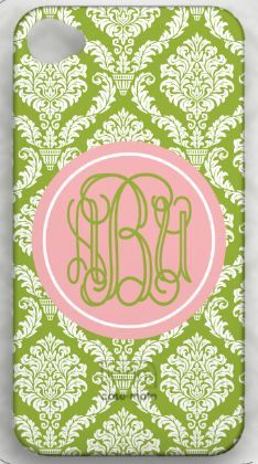 monogramed pink and green iPhone case