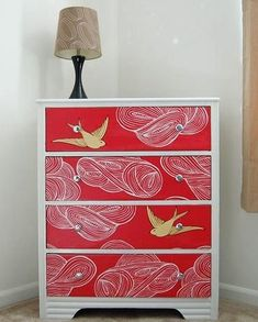 Dishfunctional Designs: Upcycled Dressers: Painted, Wallpapered, & Decoupaged I could spray paint dresser shiny black and wallpaper drawers