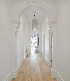 interior design, cleanses, white entranc, arch, reno idea, mim design, interiors, hallway, design chaser