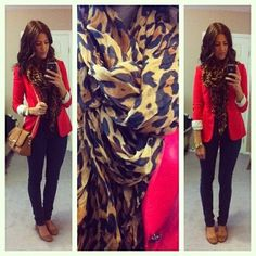 red blazer. leopard scarf. tan flats. Would look cute with tan boots too! Very cute