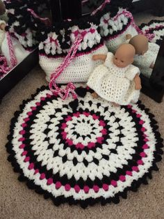 This adorable crocheted baby cradle folds into a purse with handles.  Check out the pattern on Etsy.