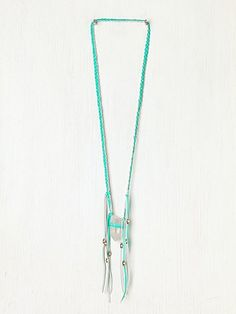 Free People Neon Leather Braided Crystal Necklace
