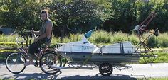 Bottle Bicycle Boats: The ideal rat boat would be an amphibious bicycle that could ride to the river, dive right in, return to land elsewhere and continue on its way. For now, we have only built trailer-carried boats that must return to their launch points.