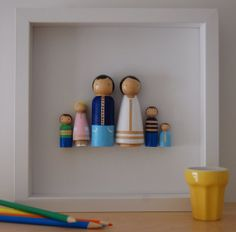 Customized Peg Doll Family Wall Art Personalized by BazarRosa