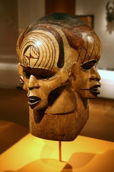 Mask, Artist: Attributed to Takim Eyuk (died c. 1915), Akparabong peoples, Cross River region, Nigeria, c. 1900-1915, Wood, skin, dye, iron    This four-faced helmet mask represents a man and his three wives, a person of wealth and stature in the community.  Photo by flickr user cliff1066™