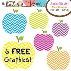 FREE Bright Chevron Apple Clip Art!!