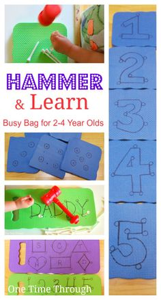 Hammer  Learn Busy Bag: FINE-MOTOR practise for little hands while working on NUMBER, SHAPE, and LETTER recognition!  {One Time Through} #kids #busybags #alphabet