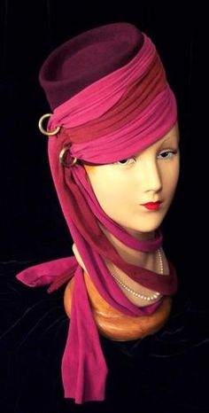 1930s/1940s Tall Plum Fez Hat with Magenta, Pink, and Red Scarves and Gold Rings.