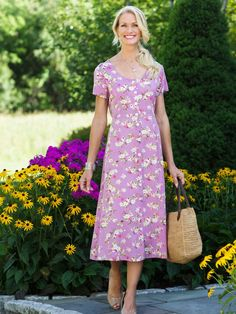 Floral print rayon dress from the Vermont Country Store