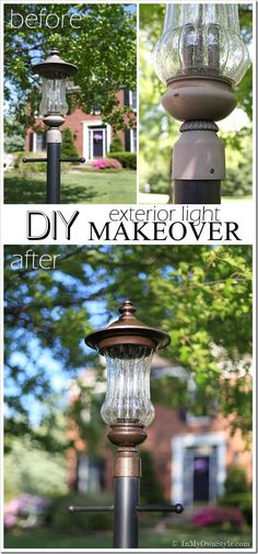 Amazing ~~ Before-and-After-Outdoor light fixtures transformed with Molten Metallic Paint